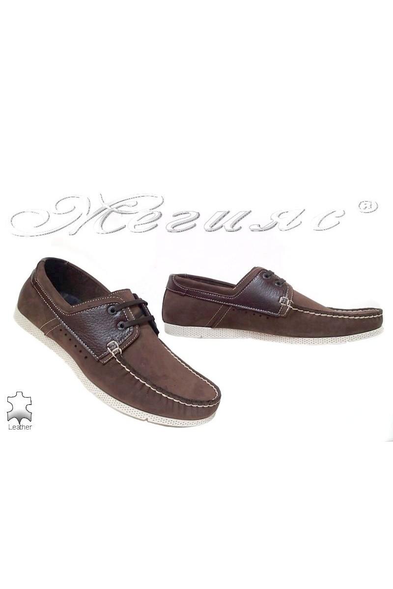 Мъжки обувки FENOMEN 201 кафяви набук ежедневни