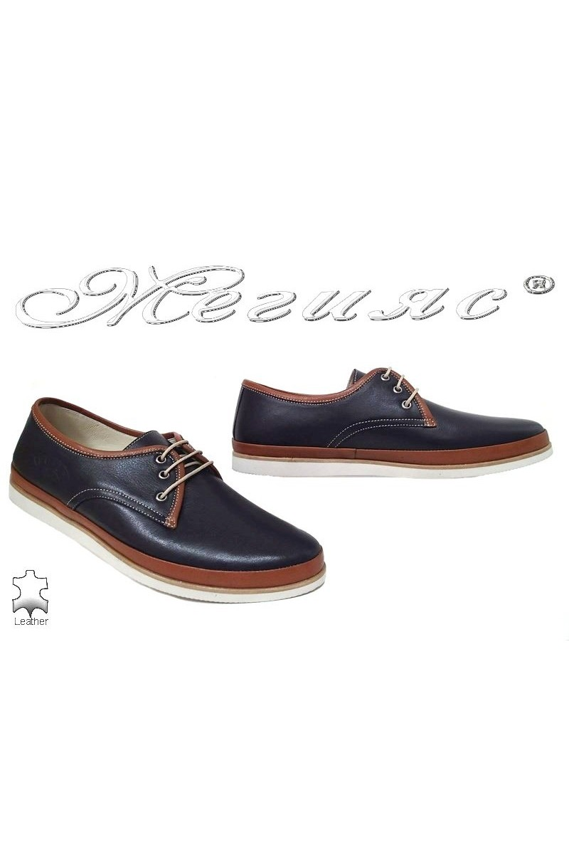 Мъжки обувки Пъфи 752 сини с таба от естествена кожа