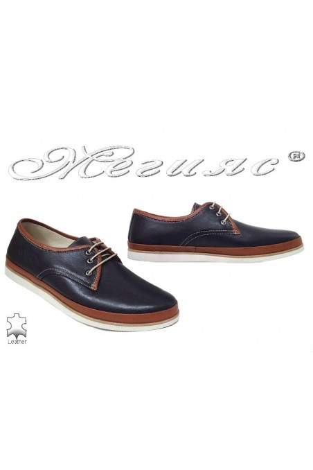 Men shoes 752 blue+brown leather
