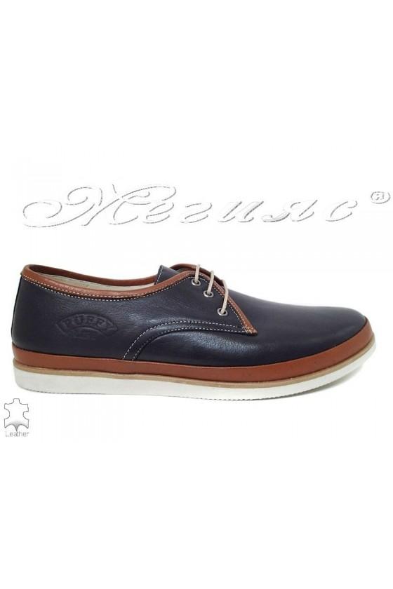 Men shoes 752 blue+brown leather