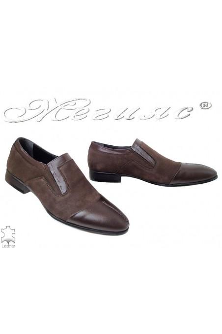 Мъжки обувки FENOMEN 248 кафяви от естествен набук елегантни