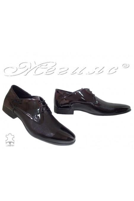 Men elegant shoes 16036 black patent