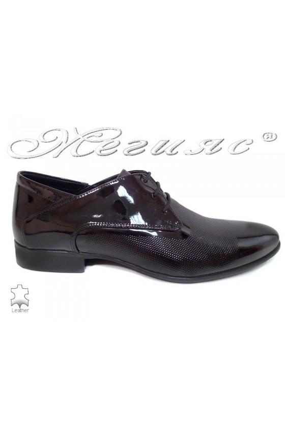 Мъжки обувки черни лак елегантни Фантазия 16036