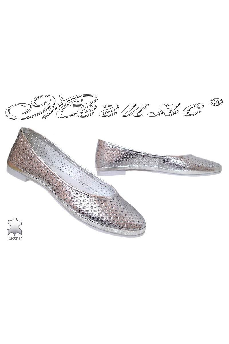 Дамски ежедневни обувки 251-63-771 сребристи от естествена кожа