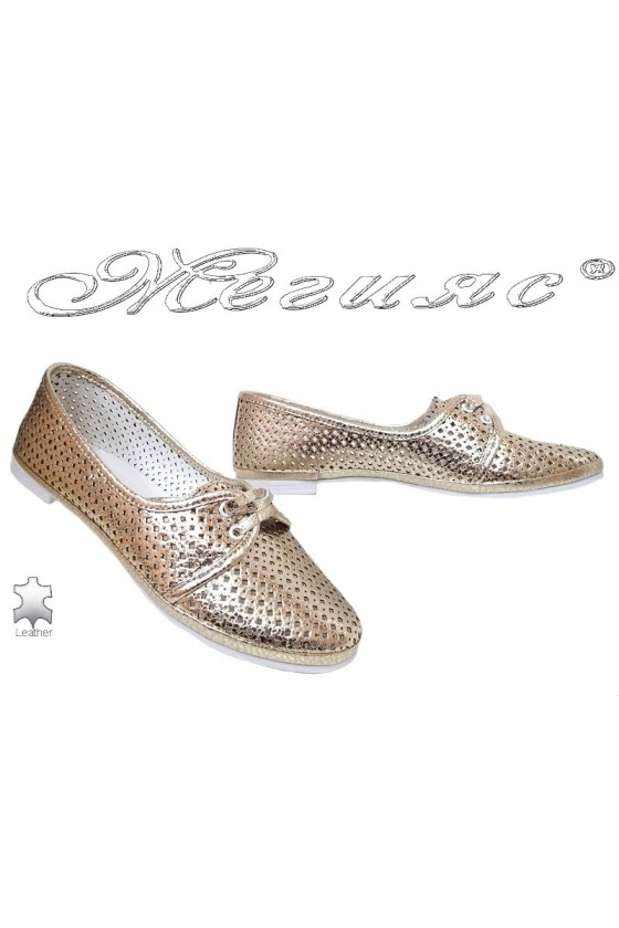 Lady shoes 046-771 gold leather