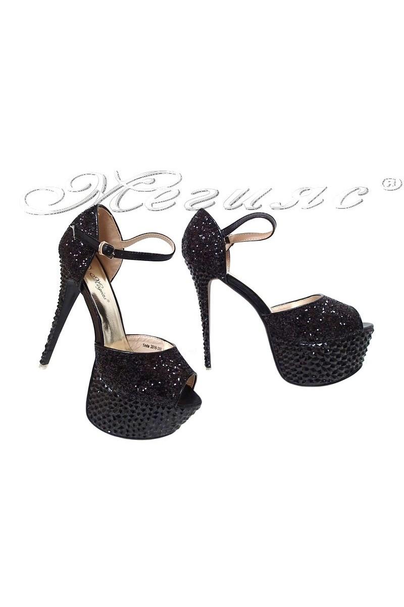 Дамски сандали LINDA 2016-350 черни на висок ток с брокат