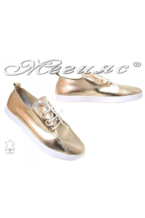 Lady shoes 802 gold leather