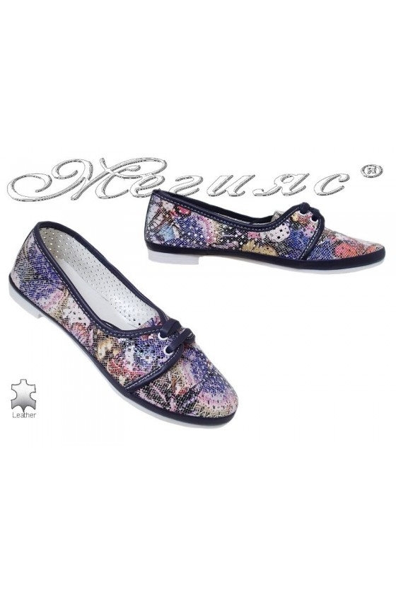 Lady shoes 046-10-771 blue leather