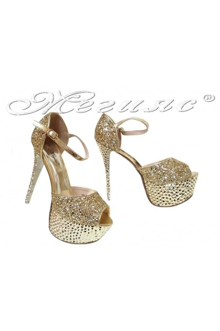 Дамски сандали LINDA 20S16-350 гигант златисти на висок ток с брокат