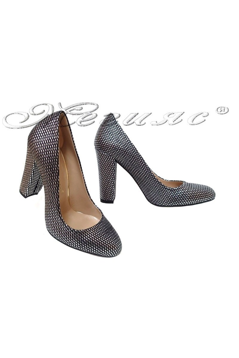 Women elegant shoes 500 high heel dk.silver pu