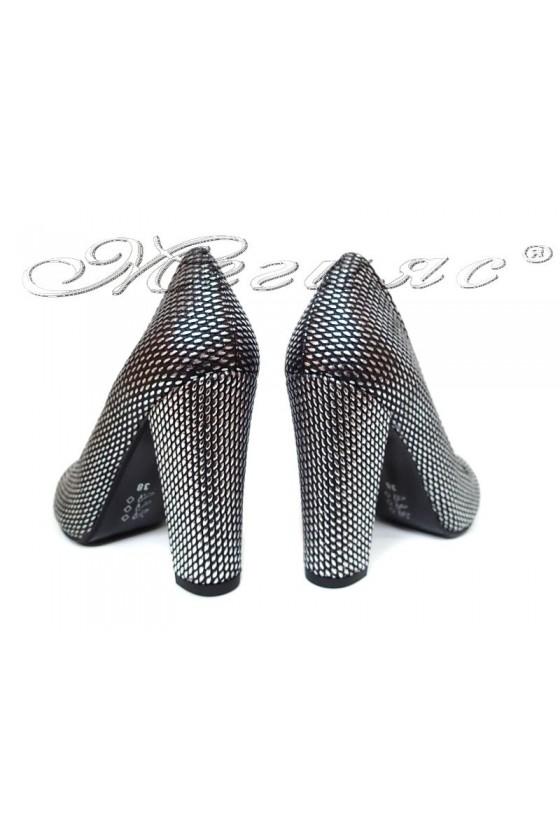 Women elegant  shoes 500 high heel dk.silver pu