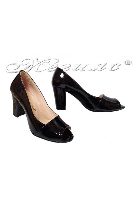 Women elegant shoes 012 black patent