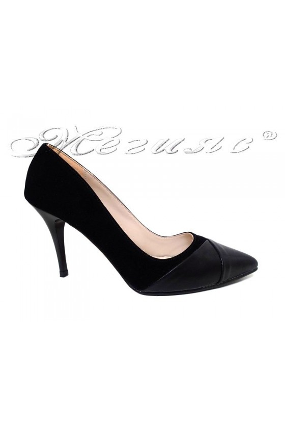 Women elegant shoes 112 black pu with middle heel