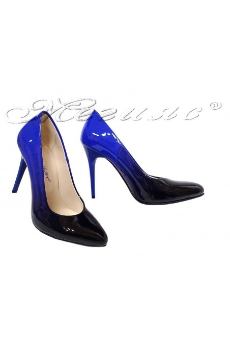 Women elegant shoes 162 blue with black patent