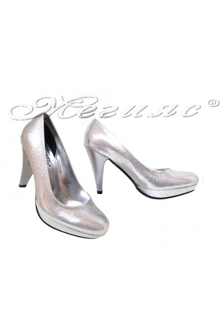 Women elegant shoes 520 high heel silver