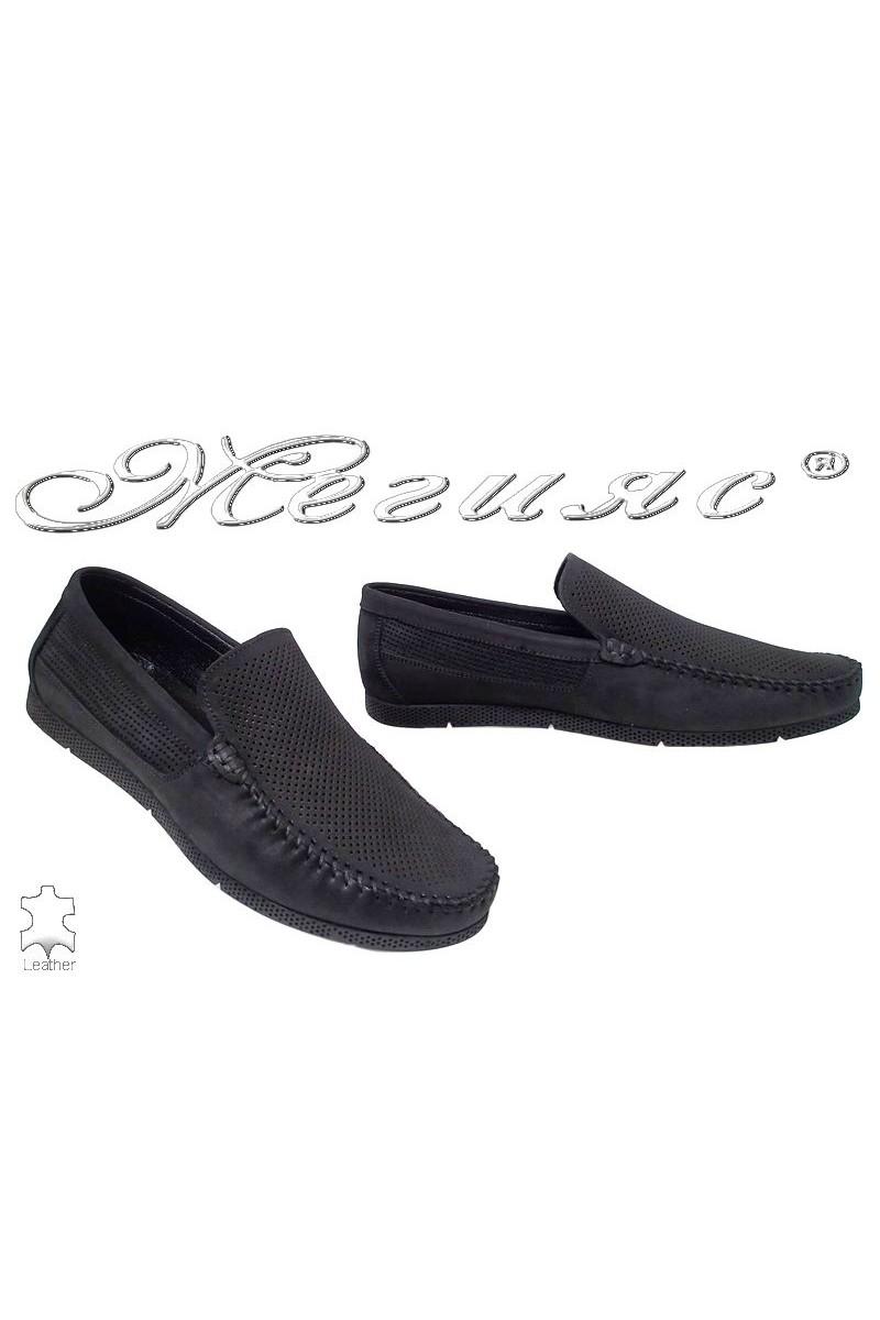 Мъжки обувки Sharp 5002 набук перфорация черни тип мокасина