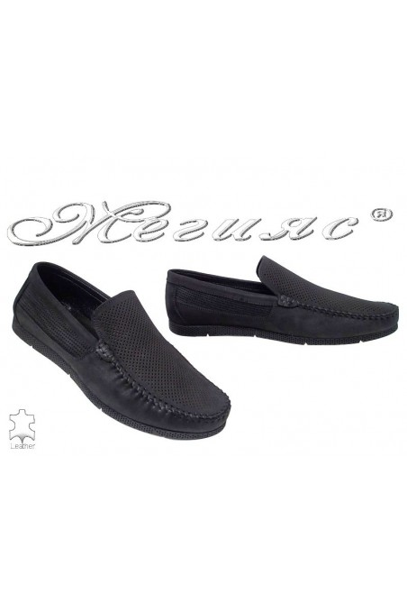 Men's shoes 5002 black suede leather