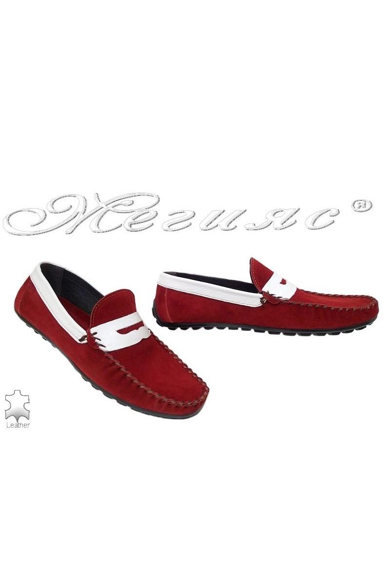 Мъжки обувки 03 червени с бяло от естествен велур тип мокасина