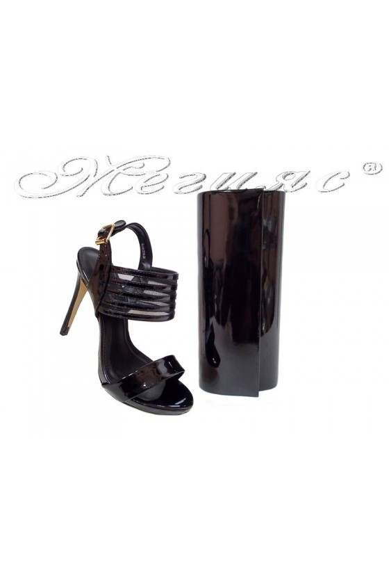 Lady elegant shoes 2016-24 black patent with bag 373