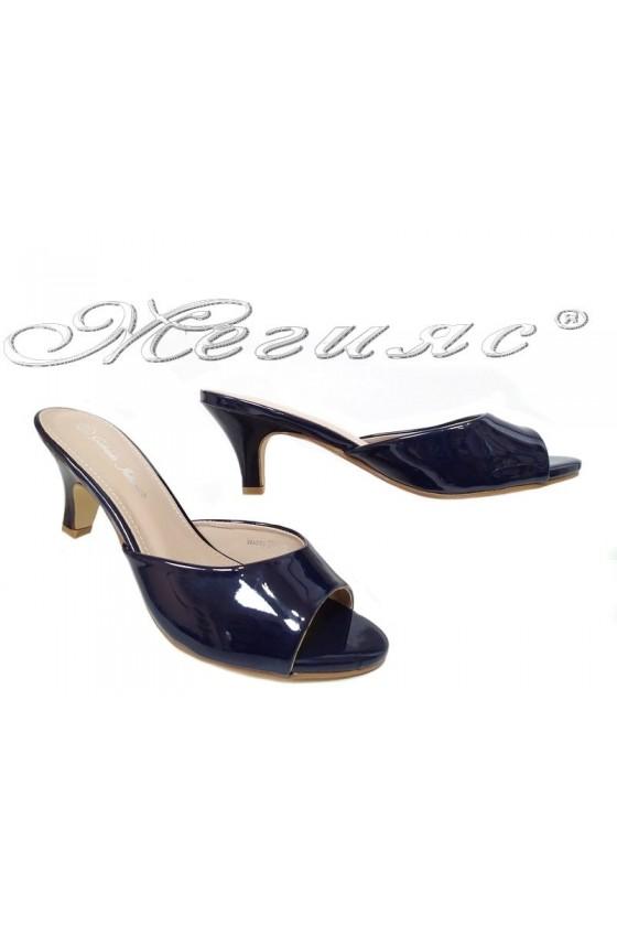 Дамски чехли WENDY 20S16-51 сини лак нисък ток