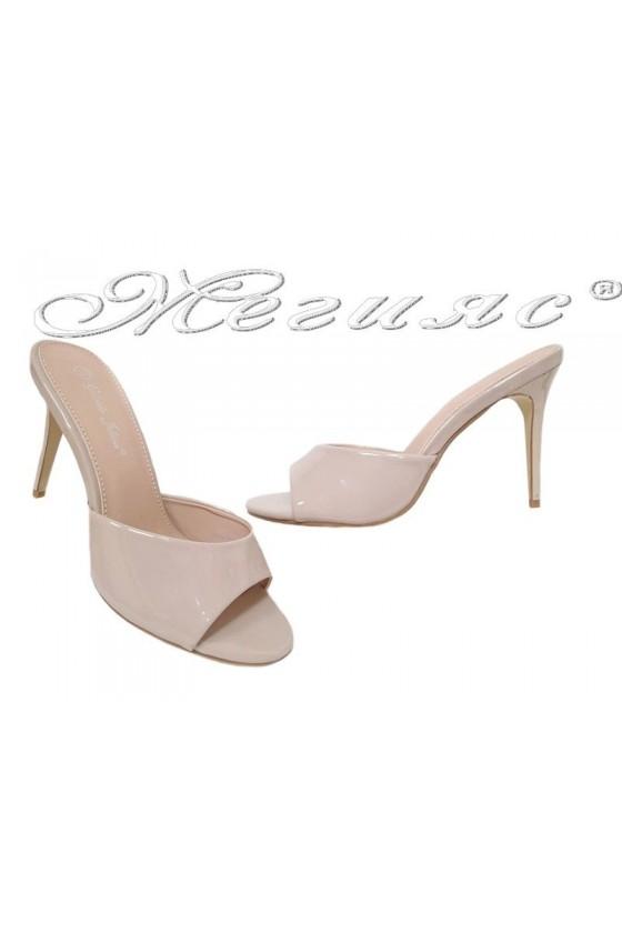 Дамски чехли WENDY 20S16-58 бежови лак елегантни с висок ток
