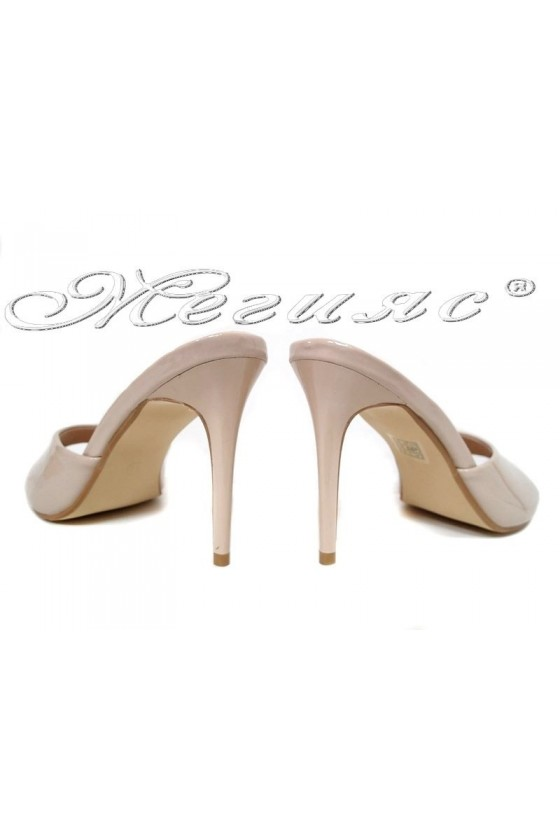 Lady sandals WENDY 2016-58 beige patent with high heel