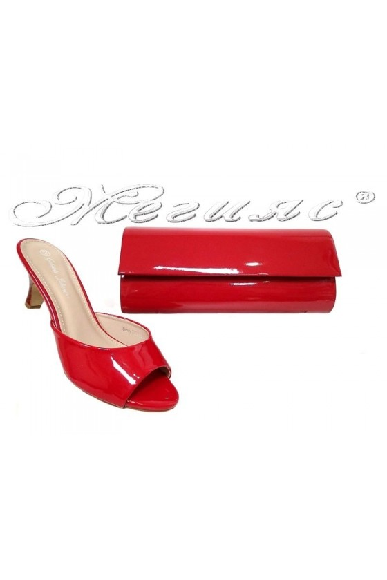 Lady elegant shoes 2016-49 red patent with bag 373