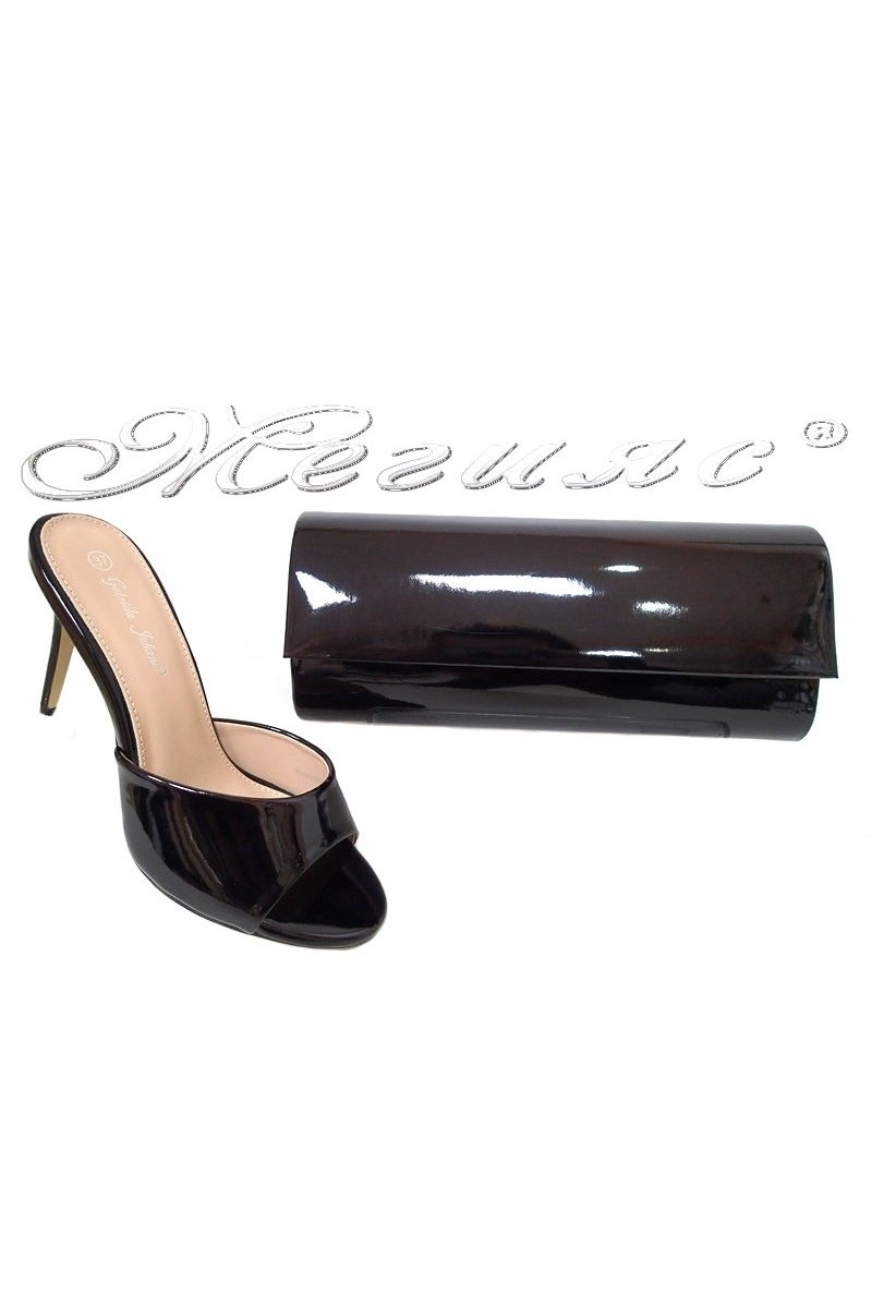 Lady elegant shoes 2016-55 black patent with bag 373