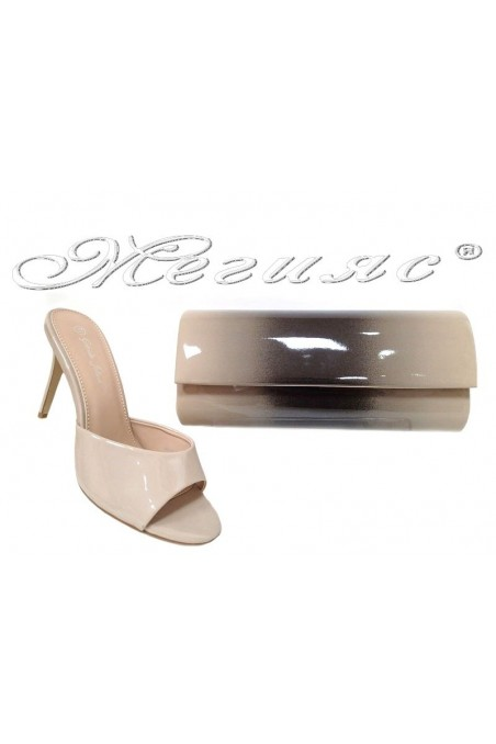 Lady elegant shoes 2016-58 beige patent with bag 373