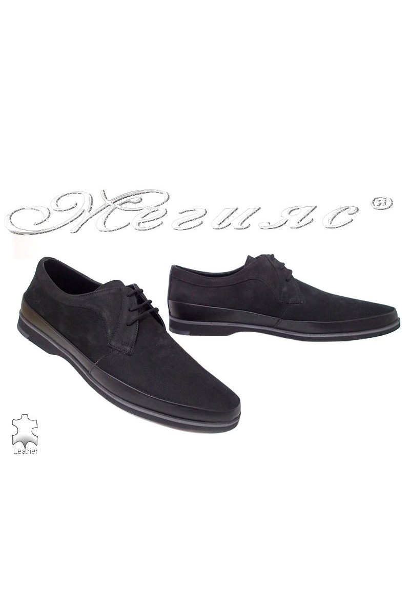 Men's shoes 16094 black suede leather
