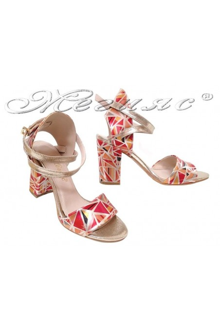 Lady sandals 936 gold with red