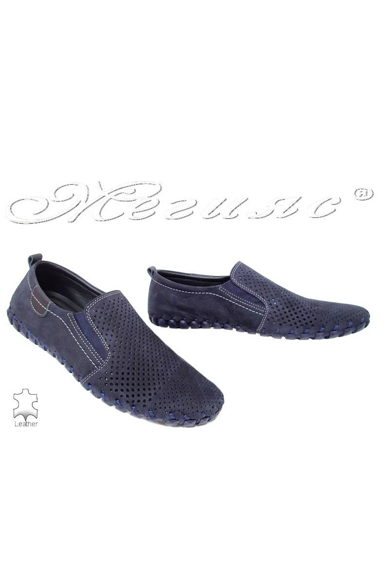 Men's shoes 1308 dark blue suede leather