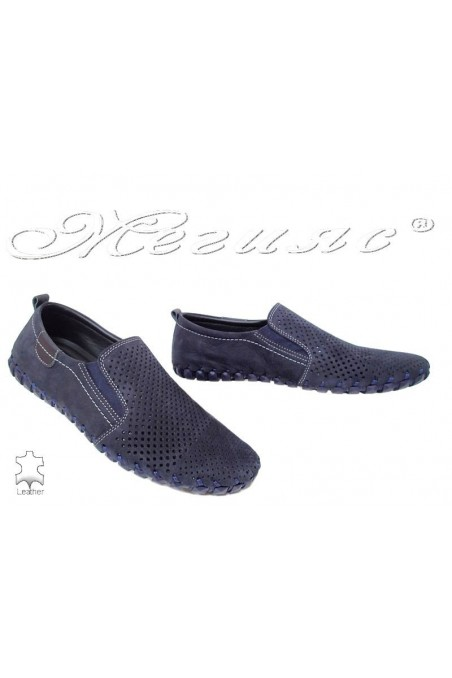 Men's shoes 1308 dark blue suede leather