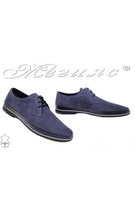 Men's shoes 16094 blue1 leather