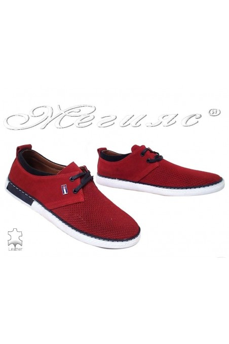 Men's shoes 602 red suede leather
