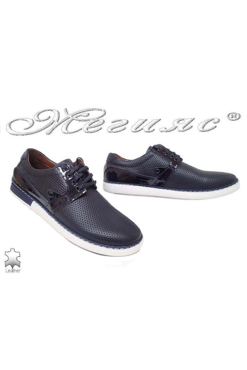 Мъжки обувки 626 сини кожа естествена с перфорация ежедневни