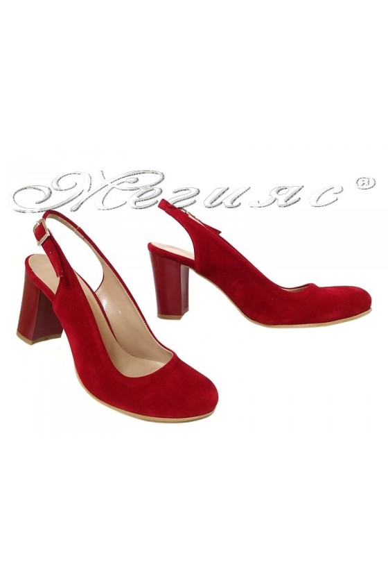 Women elegant sandals 405 red suede with high heel