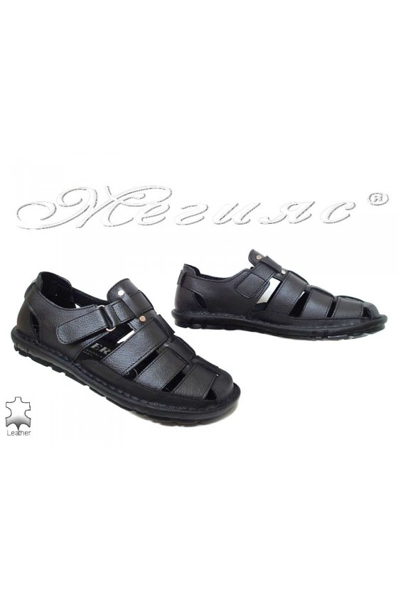 Men's sandals 025 black leather
