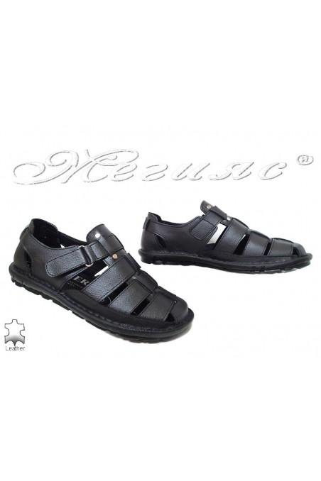 Men's sandals 025 black leather
