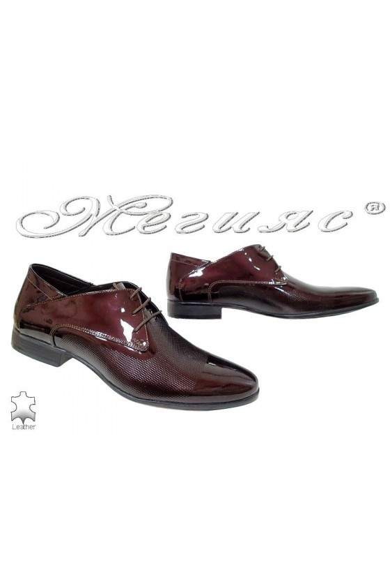 Мъжки обувки бордо лак елегантни