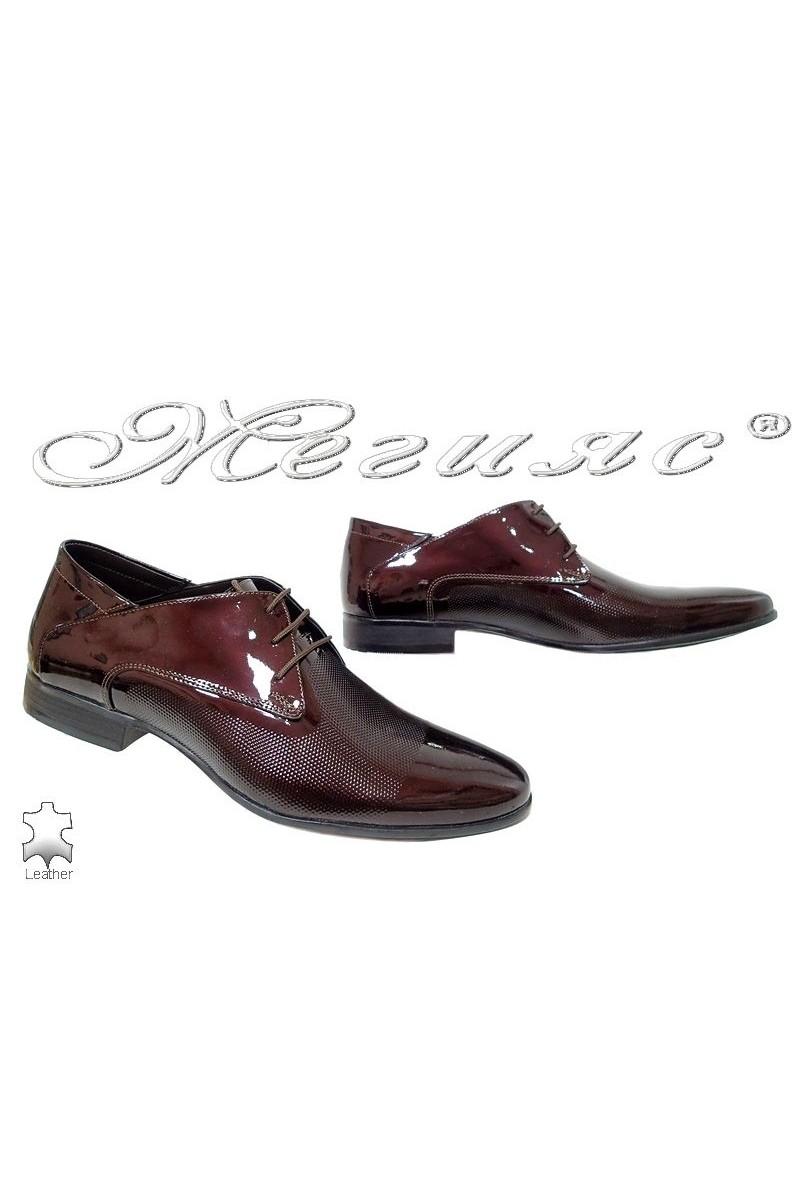 Men elegant shoes 16036 bordo patent