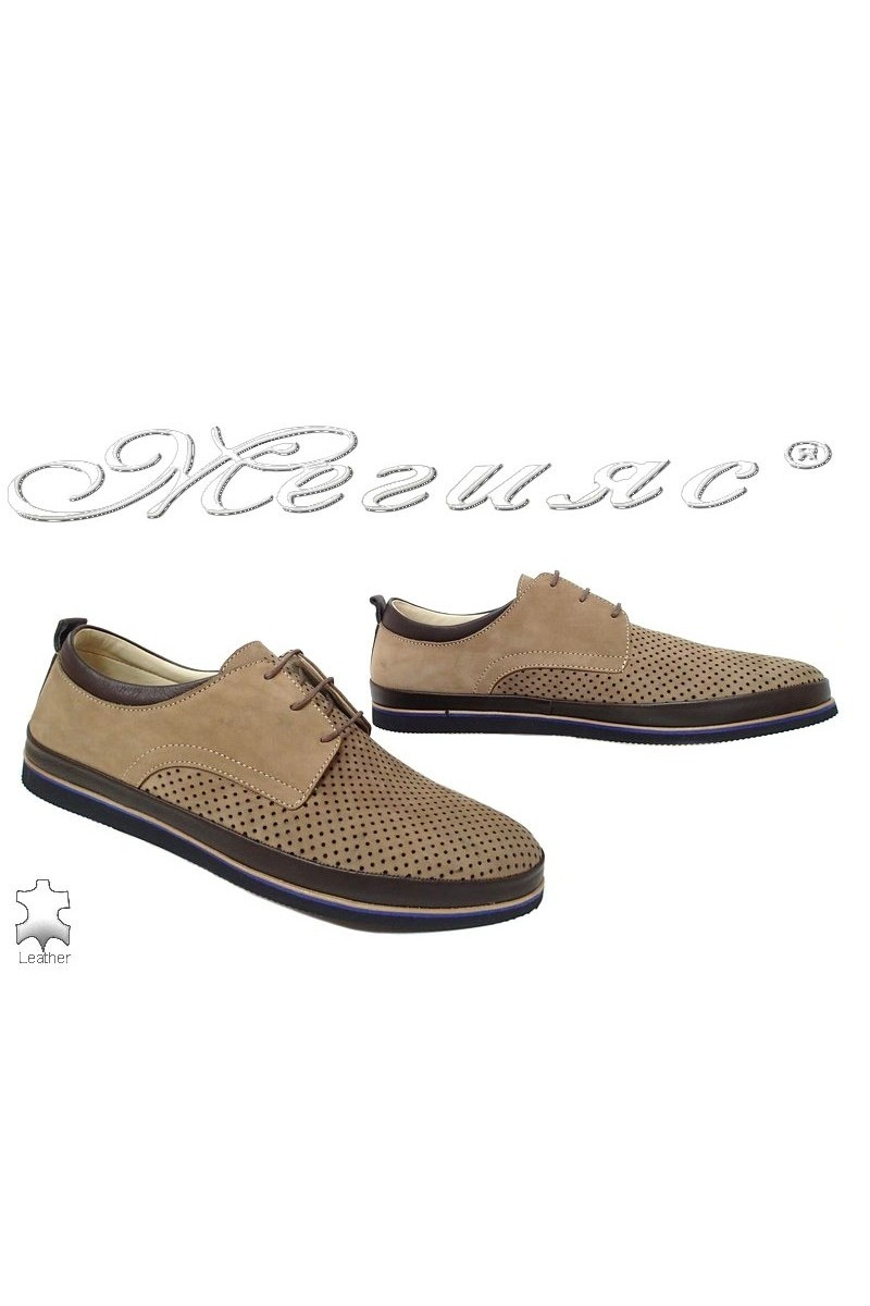 Men's shoes 05-060 beige leather