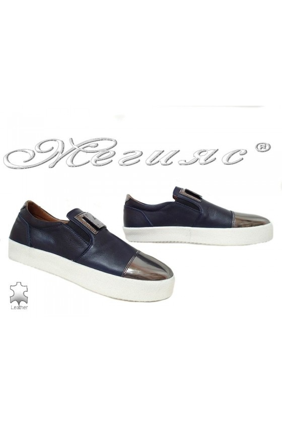 Мъжки обувки 619 сини гладка етсествена кожа
