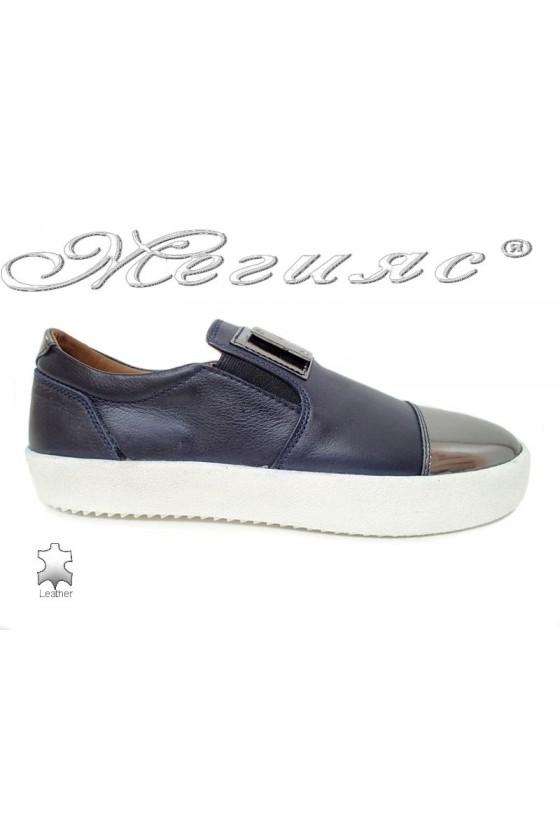 Мъжки обувки 619 сини гладка естествена кожа