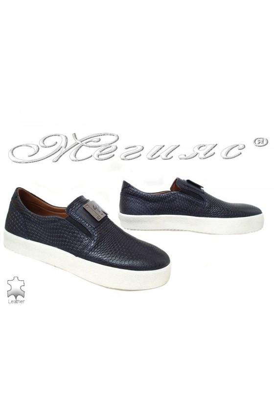 Мъжки обувки 619 сини кроко етсествена кожа