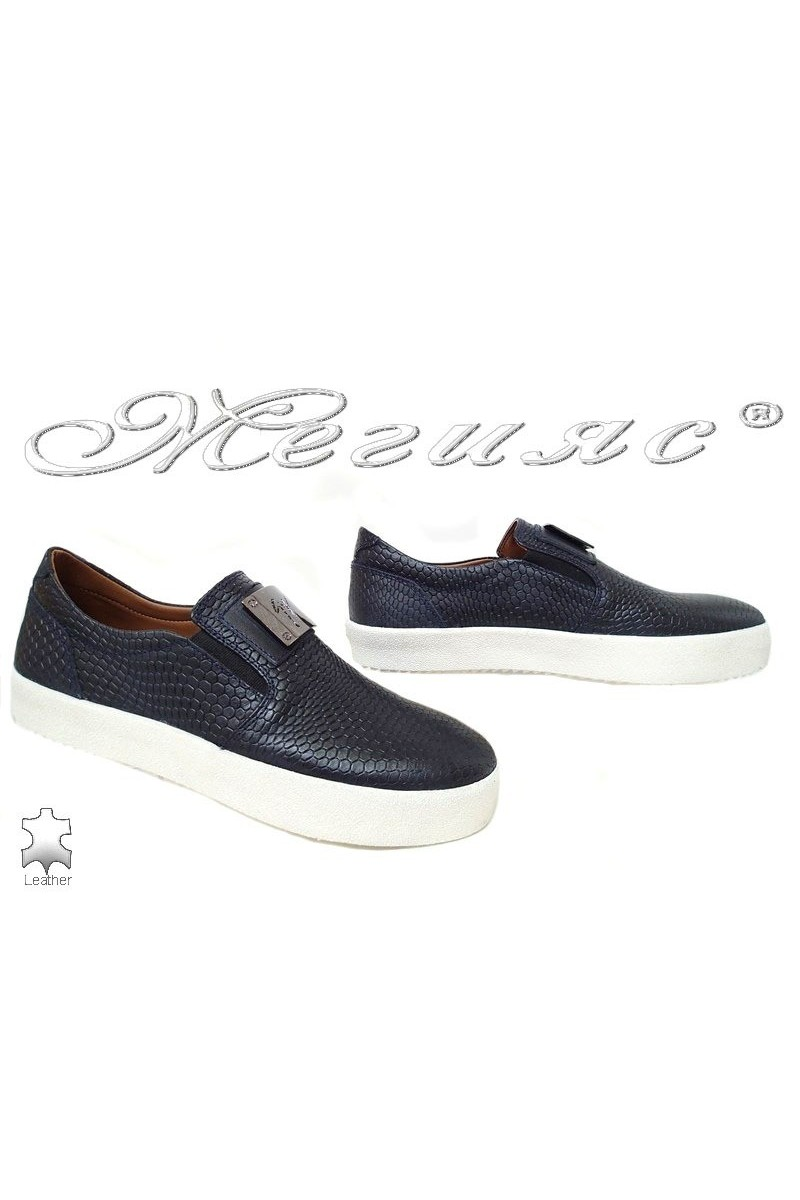 Men shoes 619 blue leather