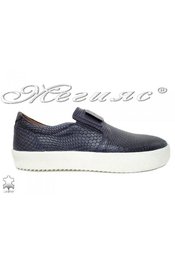 Мъжки обувки 619 сини кроко естествена кожа