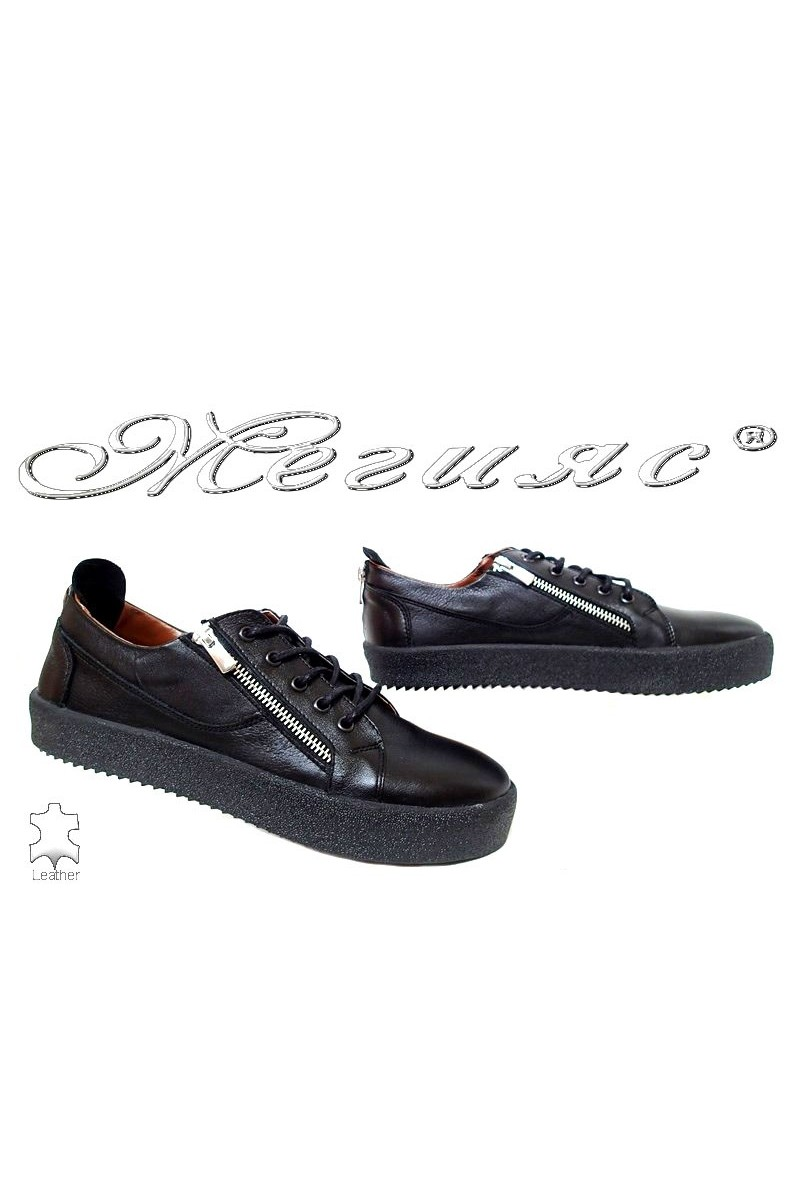 Men shoes 620 black leather