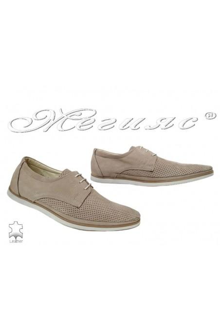 Men's shoes 504-602 beige leather