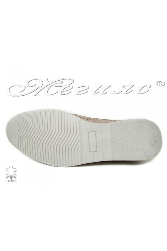 Мъжки обувки Фантазия 504-602 перфорация бежов набук